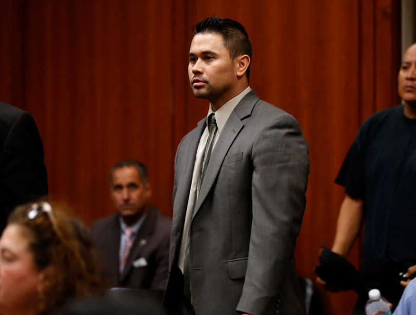 San Jose police officer Derrick Antonio walks into court before he is arraigned at the Santa Clara County Superior Court, Hall of Justice in San Jose, Calif., on Thursday, Sept. 22, 2016. (Nhat V. Meyer/Bay Area News Group)