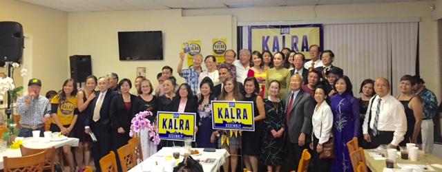 Thiếu tướng Nguyễn KhắcBình và những ủng hộ viên của Ash Kalra trong buổi tiệc gây quỹ vào tối qua